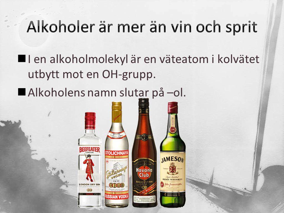  I en alkoholmolekyl är en väteatom i kolvätet utbytt mot en OH-grupp.  Alkoholens namn slutar på –ol.