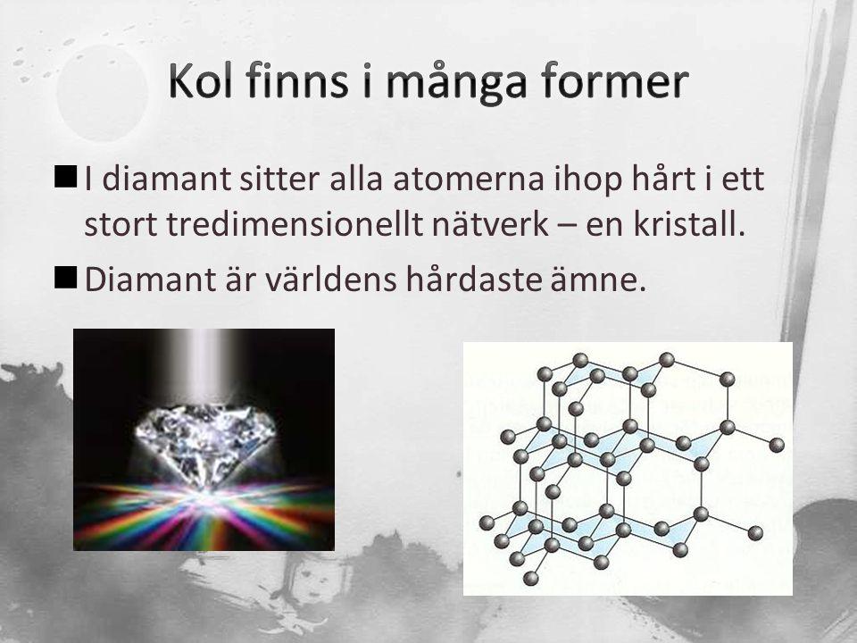  I diamant sitter alla atomerna ihop hårt i ett stort tredimensionellt nätverk – en kristall.  Diamant är världens hårdaste ämne.