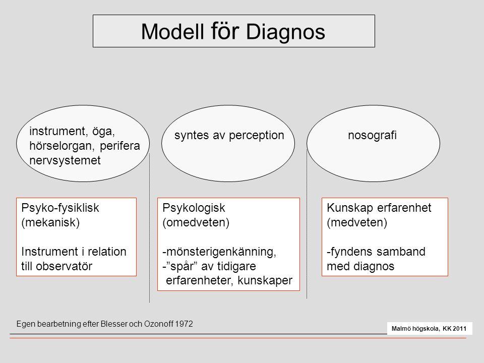 Modell för Diagnos instrument, öga, hörselorgan, perifera nervsystemet Psyko-fysiklisk (mekanisk) Instrument i relation till observatör Psykologisk (o