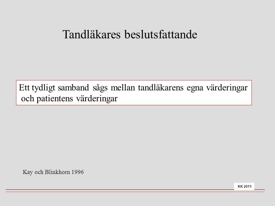Ett tydligt samband sågs mellan tandläkarens egna värderingar och patientens värderingar Tandläkares beslutsfattande Kay och Blinkhorn 1996 KK 2011