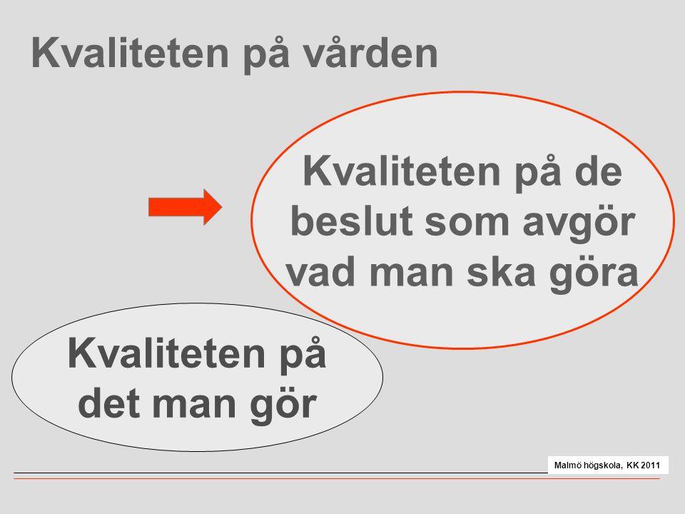 Kvaliteten på vården Kvaliteten på det man gör Kvaliteten på de beslut som avgör vad man ska göra Malmö högskola, KK 2011