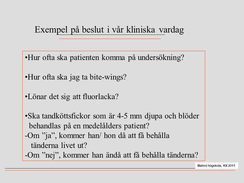 Exempel på beslut i vår kliniska vardag •Hur ofta ska patienten komma på undersökning? •Hur ofta ska jag ta bite-wings? •Lönar det sig att fluorlacka?