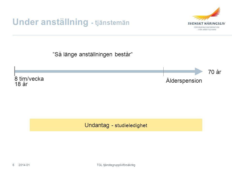 Efter anställning - arbetare Allmänt efterskydd Max 180 dagar Vid sjukdom till 65 år Förlängt efterskydd Max 2 år - Arbetslöshet - Föräldraledighet 2014-01 TGL tjänstegrupplivförsäkring 7