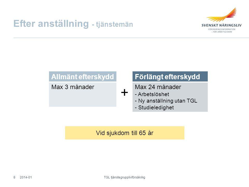 Efter anställning - tjänstemän Allmänt efterskydd Max 3 månader Vid sjukdom till 65 år Förlängt efterskydd Max 24 månader - Arbetslöshet - Ny anställn