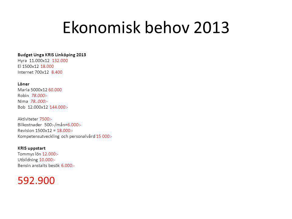 Ekonomisk behov 2013 Budget Unga KRIS Linköping 2013 Hyra 11.000x12 132.000 El 1500x12 18.000 Internet 700x12 8.400 Löner Maria 5000x12 60.000 Robin 7