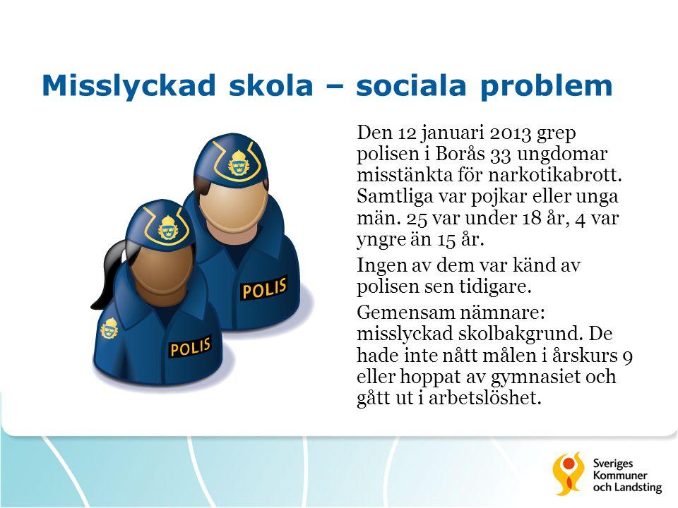 Misslyckad skola – sociala problem Den 12 januari 2013 grep polisen i Borås 33 ungdomar misstänkta för narkotikabrott.