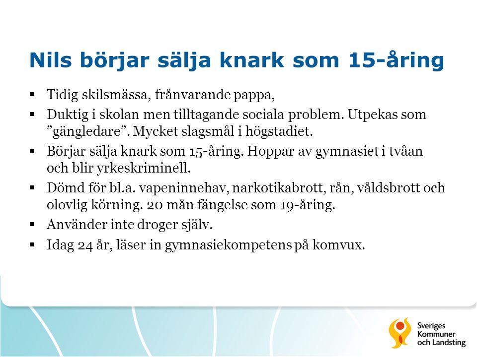 Nils börjar sälja knark som 15-åring  Tidig skilsmässa, frånvarande pappa,  Duktig i skolan men tilltagande sociala problem.