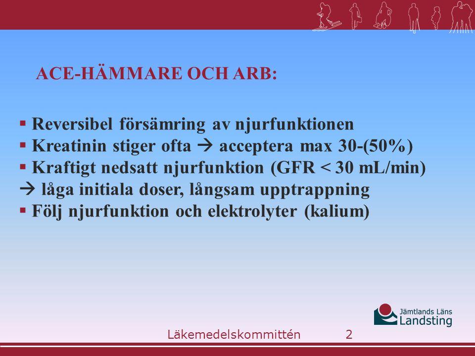 ACE-HÄMMARE OCH ARB:  Reversibel försämring av njurfunktionen  Kreatinin stiger ofta  acceptera max 30-(50%)  Kraftigt nedsatt njurfunktion (GFR <