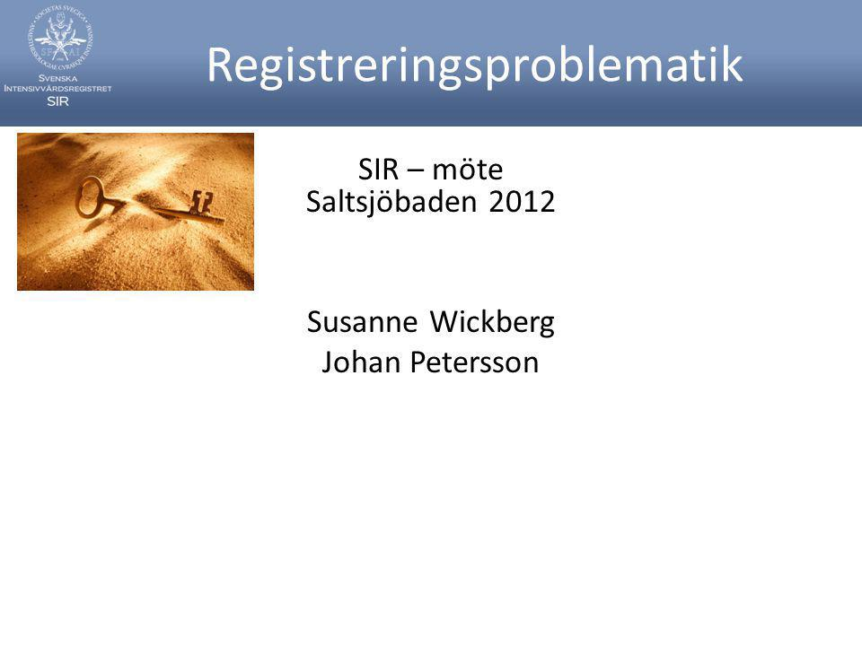 Registreringsproblematik SIR – möte Saltsjöbaden 2012 Susanne Wickberg Johan Petersson