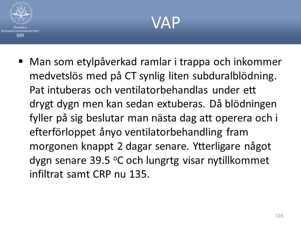 VAP  Man som etylpåverkad ramlar i trappa och inkommer medvetslös med på CT synlig liten subduralblödning. Pat intuberas och ventilatorbehandlas unde