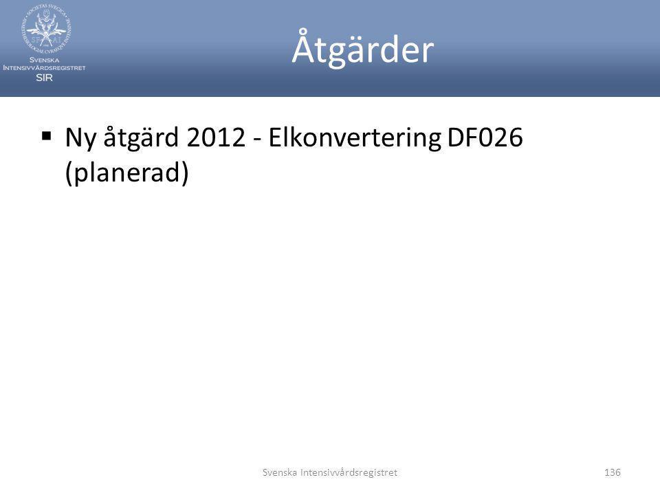 Åtgärder  Ny åtgärd 2012 - Elkonvertering DF026 (planerad) Svenska Intensivvårdsregistret136