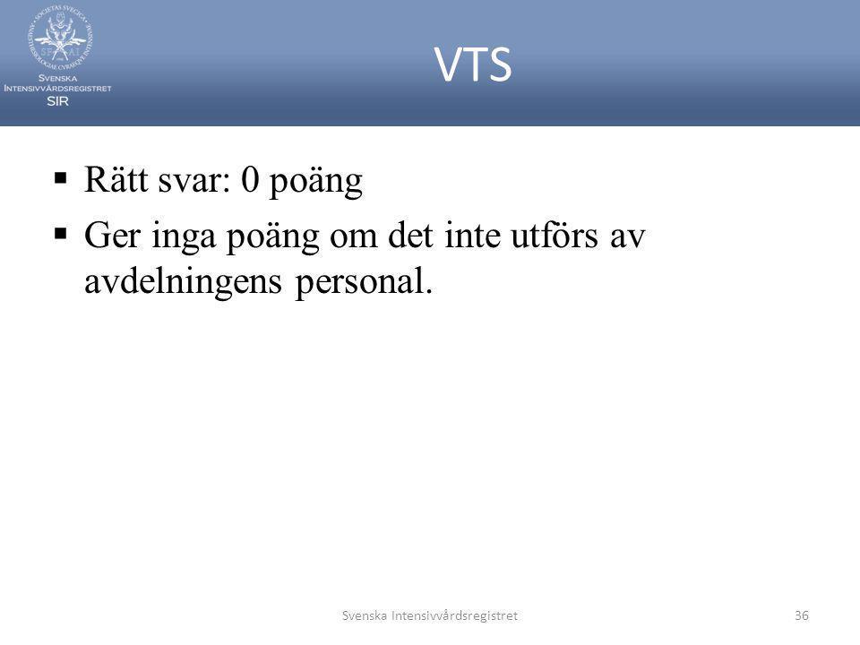VTS  Rätt svar: 0 poäng  Ger inga poäng om det inte utförs av avdelningens personal. Svenska Intensivvårdsregistret36