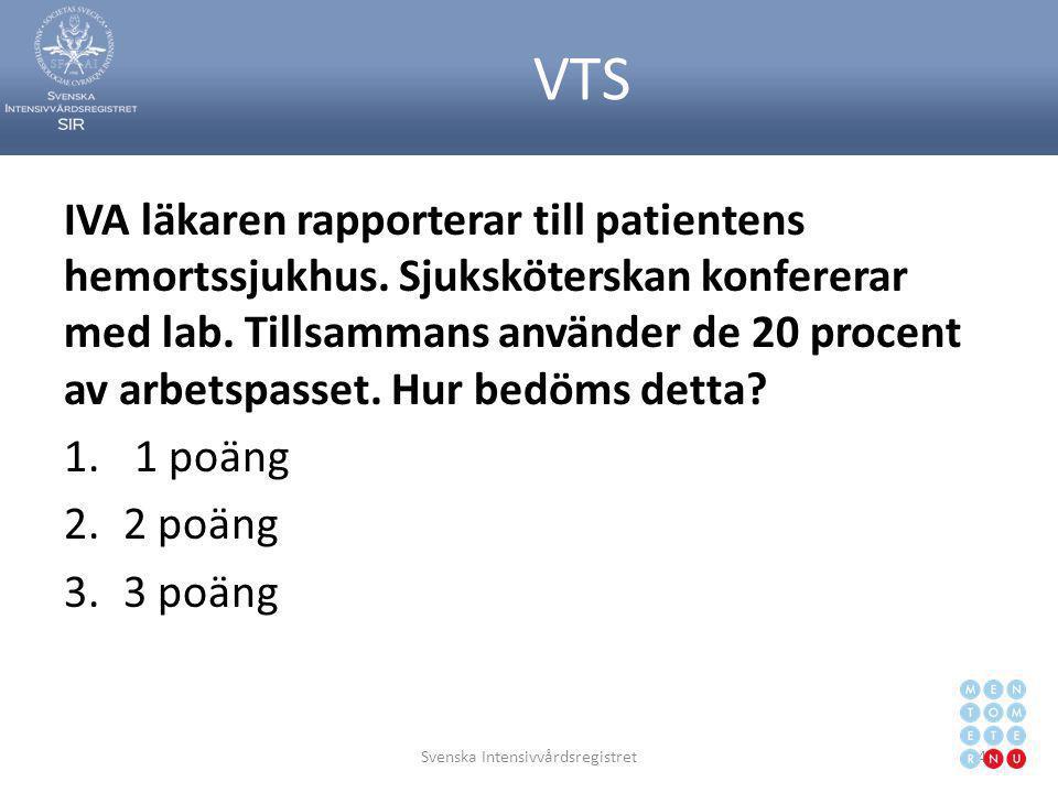 VTS IVA läkaren rapporterar till patientens hemortssjukhus. Sjuksköterskan konfererar med lab. Tillsammans använder de 20 procent av arbetspasset. Hur