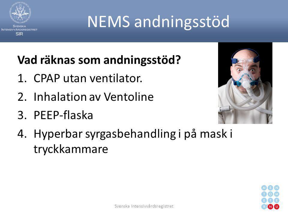 NEMS andningsstöd Vad räknas som andningsstöd? 1.CPAP utan ventilator. 2.Inhalation av Ventoline 3.PEEP-flaska 4.Hyperbar syrgasbehandling i på mask i