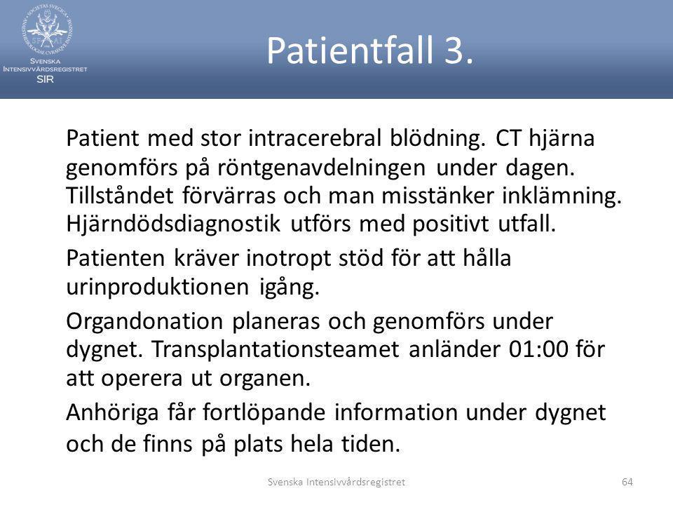 Patientfall 3. Patient med stor intracerebral blödning. CT hjärna genomförs på röntgenavdelningen under dagen. Tillståndet förvärras och man misstänke