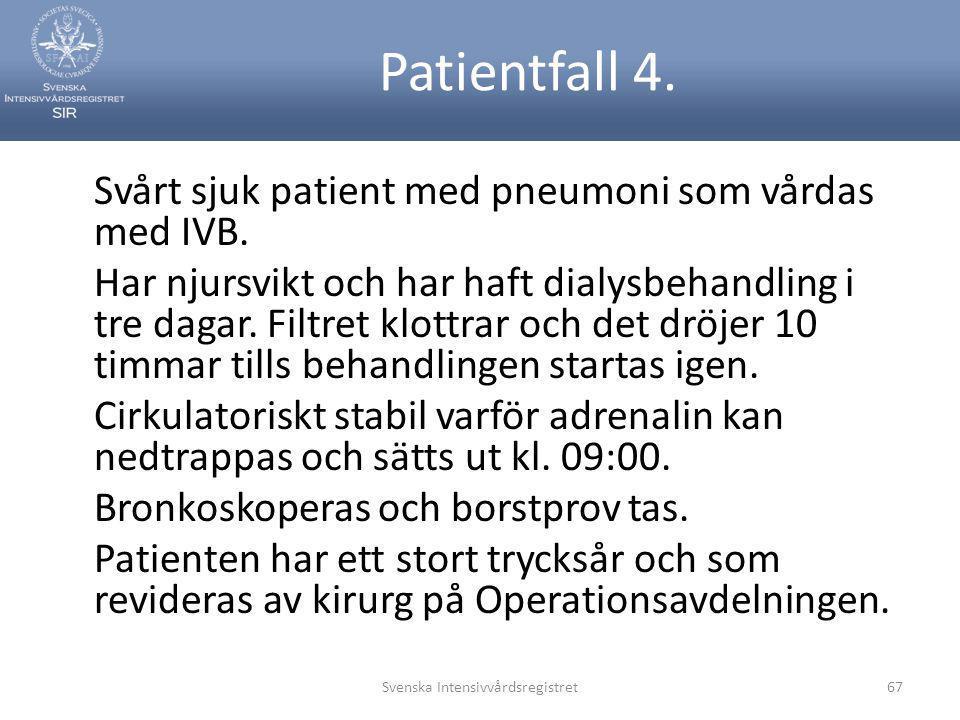 Patientfall 4. Svårt sjuk patient med pneumoni som vårdas med IVB. Har njursvikt och har haft dialysbehandling i tre dagar. Filtret klottrar och det d