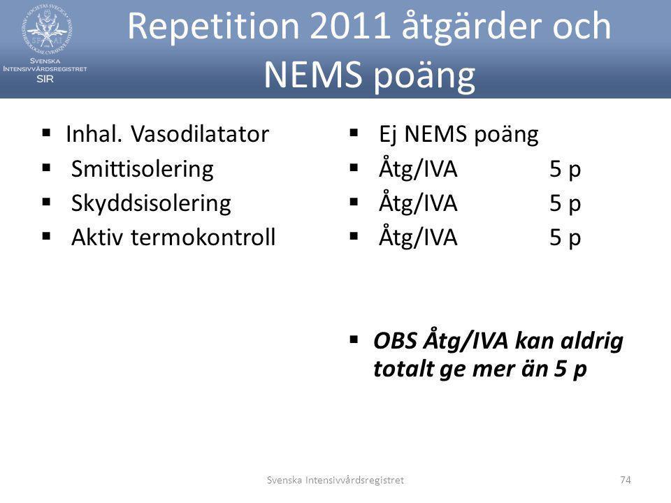Repetition 2011 åtgärder och NEMS poäng  Inhal. Vasodilatator  Smittisolering  Skyddsisolering  Aktiv termokontroll  Ej NEMS poäng  Åtg/IVA5 p 