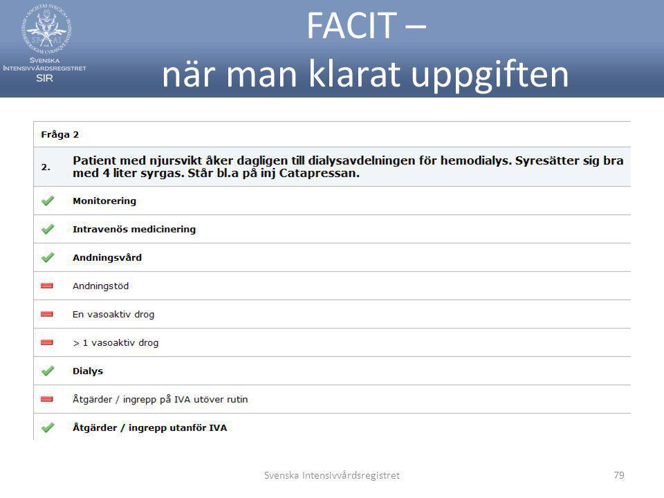 FACIT – när man klarat uppgiften Svenska Intensivvårdsregistret79
