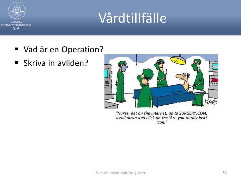 Vårdtillfälle  Vad är en Operation?  Skriva in avliden? Svenska Intensivvårdsregistret80