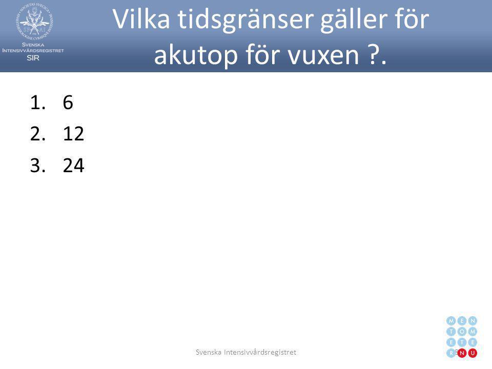 Vilka tidsgränser gäller för akutop för vuxen ?. 1.6 2.12 3.24 Svenska Intensivvårdsregistret87