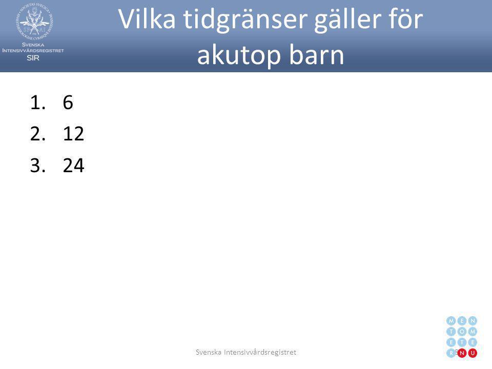 Vilka tidgränser gäller för akutop barn 1.6 2.12 3.24 Svenska Intensivvårdsregistret89