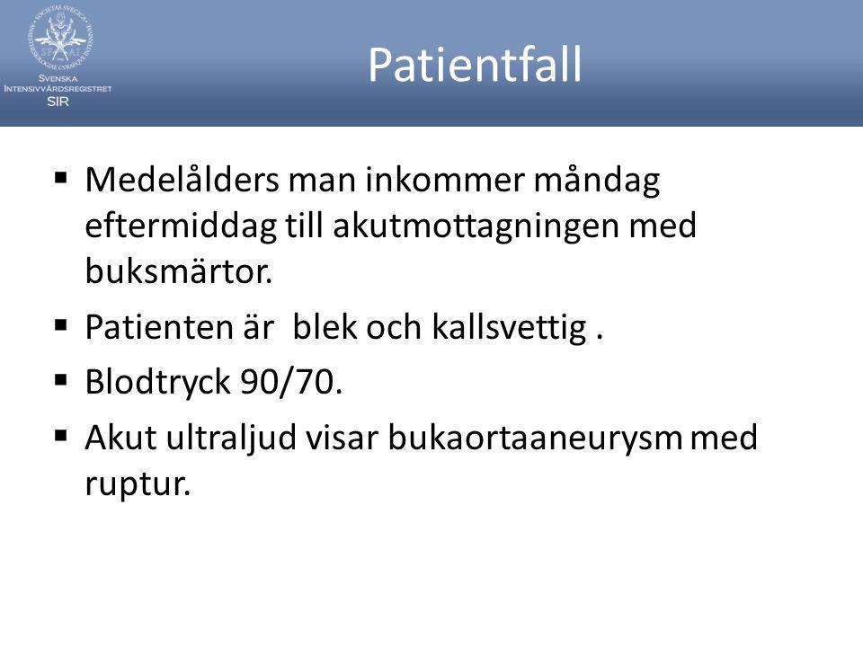 Patientfall  Medelålders man inkommer måndag eftermiddag till akutmottagningen med buksmärtor.