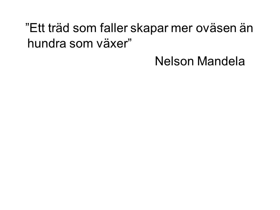 """""""Ett träd som faller skapar mer oväsen än hundra som växer"""" Nelson Mandela"""