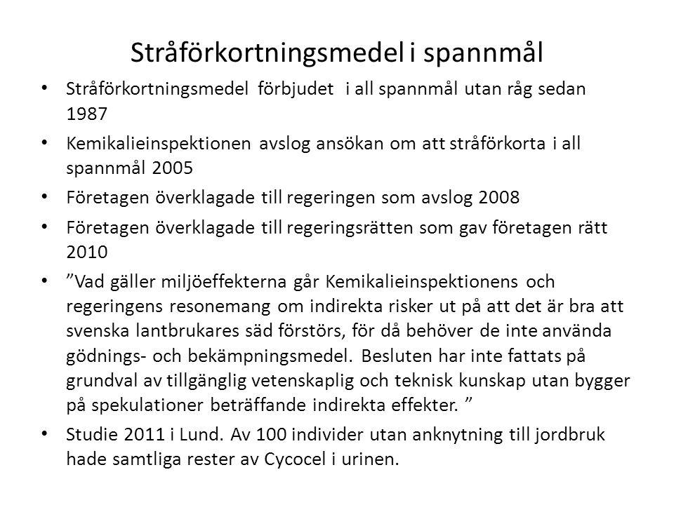 Stråförkortningsmedel i spannmål • Stråförkortningsmedel förbjudet i all spannmål utan råg sedan 1987 • Kemikalieinspektionen avslog ansökan om att st