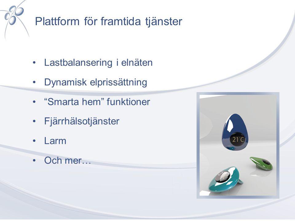 """Plattform för framtida tjänster •Lastbalansering i elnäten •Dynamisk elprissättning •""""Smarta hem"""" funktioner •Fjärrhälsotjänster •Larm •Och mer…"""
