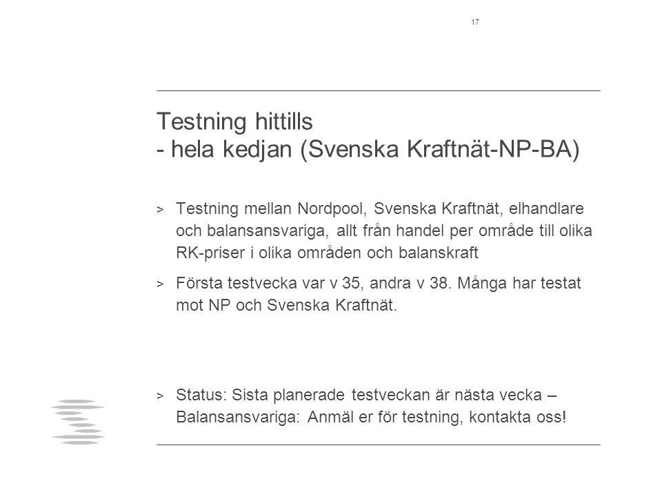 Testning hittills - hela kedjan (Svenska Kraftnät-NP-BA) > Testning mellan Nordpool, Svenska Kraftnät, elhandlare och balansansvariga, allt från handel per område till olika RK-priser i olika områden och balanskraft > Första testvecka var v 35, andra v 38.