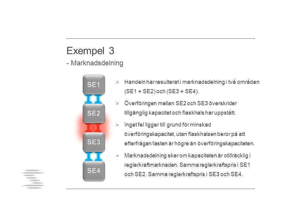 Exempel 3 - Marknadsdelning > Handeln har resulterat i marknadsdelning i två områden (SE1 + SE2) och (SE3 + SE4).