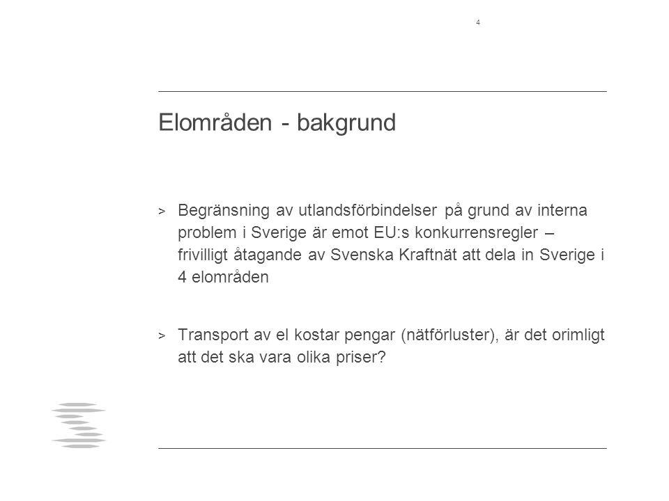 Elområden - bakgrund > Begränsning av utlandsförbindelser på grund av interna problem i Sverige är emot EU:s konkurrensregler – frivilligt åtagande av Svenska Kraftnät att dela in Sverige i 4 elområden > Transport av el kostar pengar (nätförluster), är det orimligt att det ska vara olika priser.