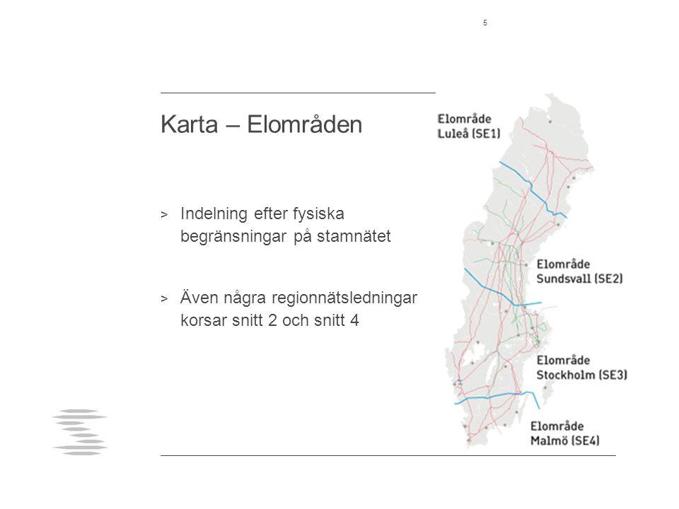 Karta – Elområden 5 > Indelning efter fysiska begränsningar på stamnätet > Även några regionnätsledningar korsar snitt 2 och snitt 4