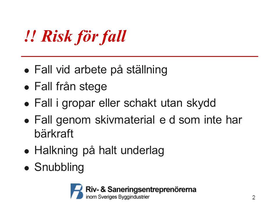 !! Risk för fall  Fall vid arbete på ställning  Fall från stege  Fall i gropar eller schakt utan skydd  Fall genom skivmaterial e d som inte har b