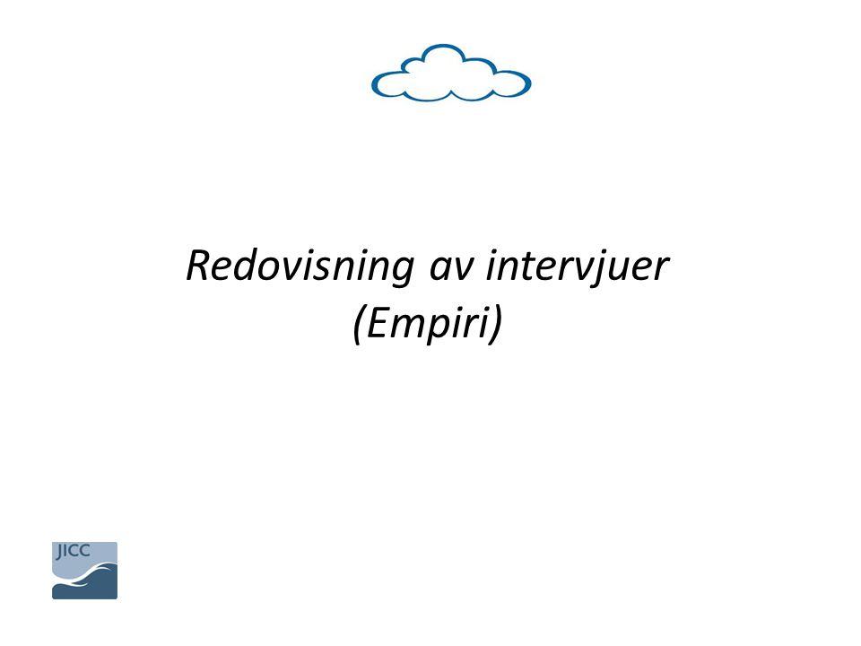 Redovisning av intervjuer (Empiri)
