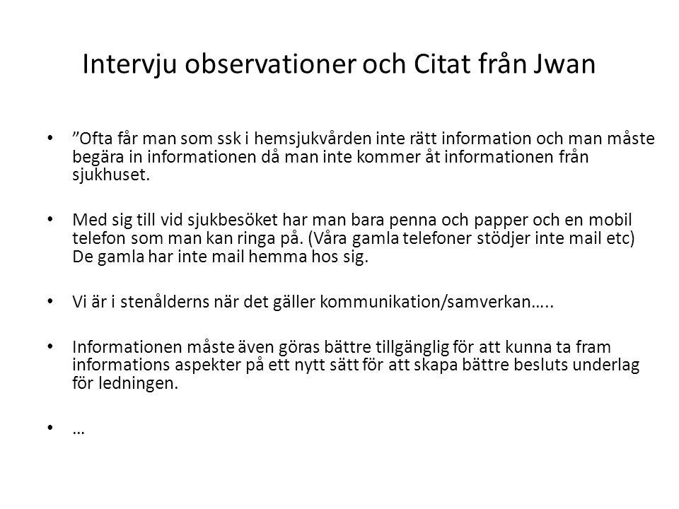 """Intervju observationer och Citat från Jwan • """"Ofta får man som ssk i hemsjukvården inte rätt information och man måste begära in informationen då man"""