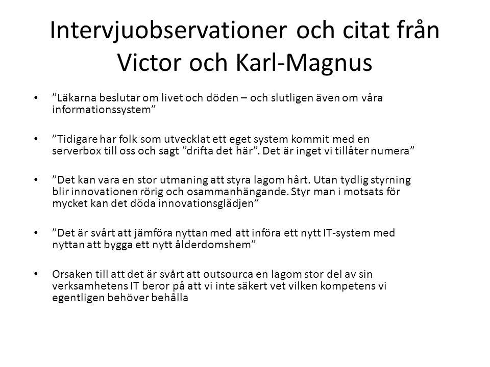 """Intervjuobservationer och citat från Victor och Karl-Magnus • """"Läkarna beslutar om livet och döden – och slutligen även om våra informationssystem"""" •"""