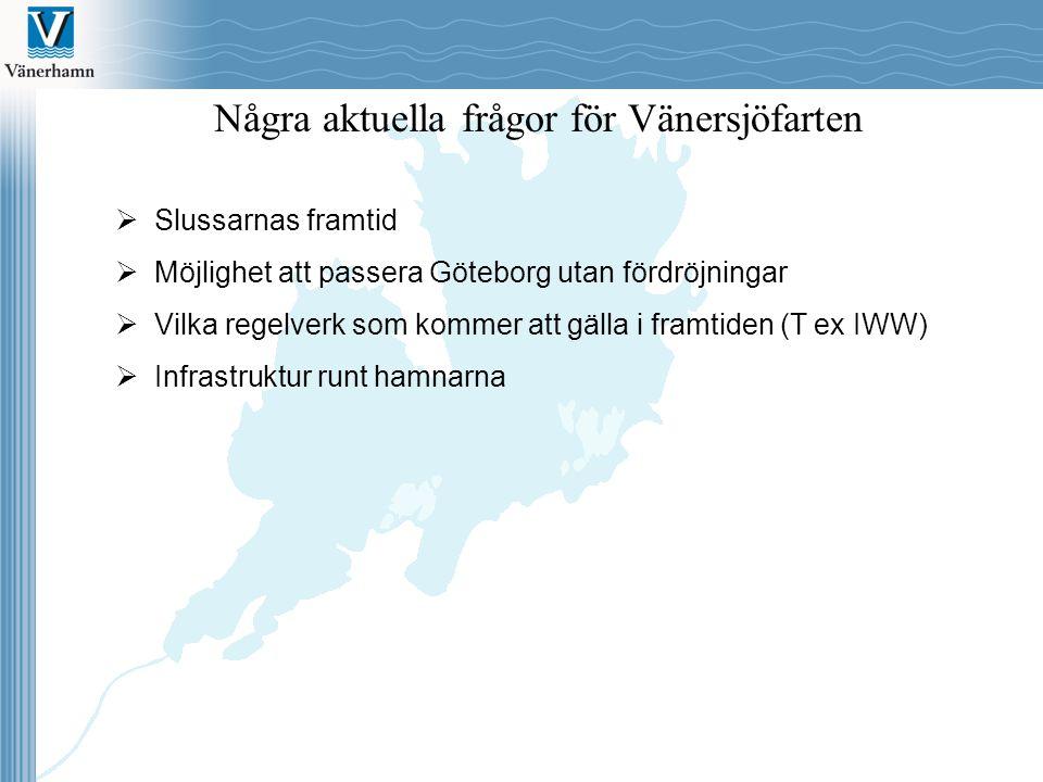 Några aktuella frågor för Vänersjöfarten  Slussarnas framtid  Möjlighet att passera Göteborg utan fördröjningar  Vilka regelverk som kommer att gäl