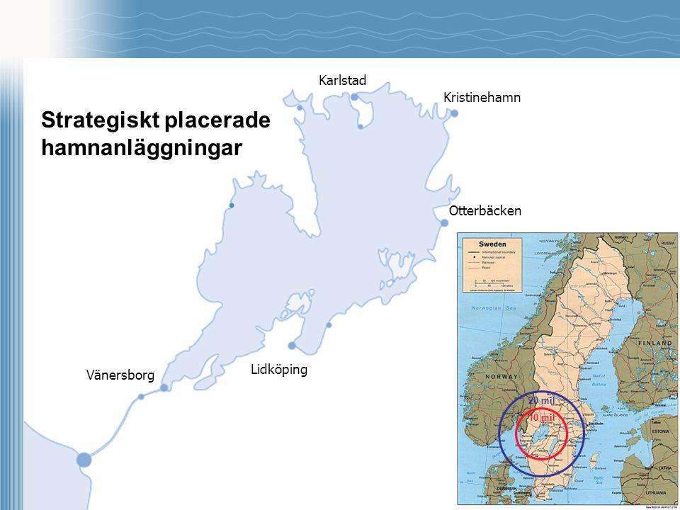 Karlstad Vänersborg Lidköping Otterbäcken Kristinehamn Strategiskt placerade hamnanläggningar. 10 mil 20 mil