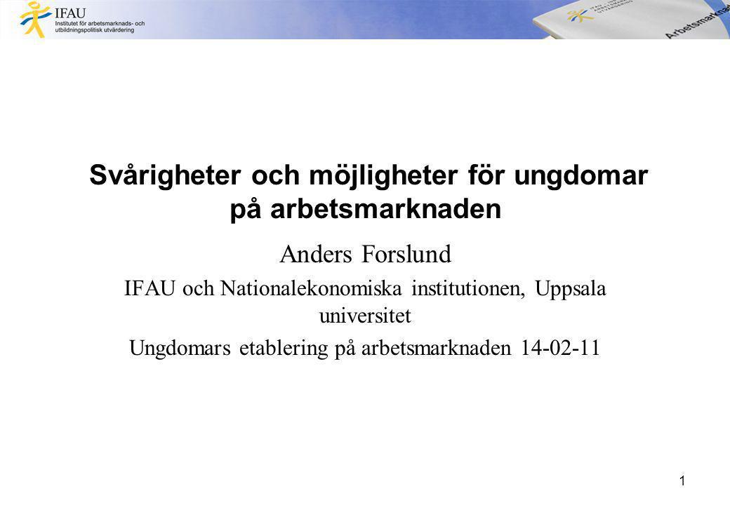 Svårigheter och möjligheter för ungdomar på arbetsmarknaden Anders Forslund IFAU och Nationalekonomiska institutionen, Uppsala universitet Ungdomars etablering på arbetsmarknaden 14-02-11 1
