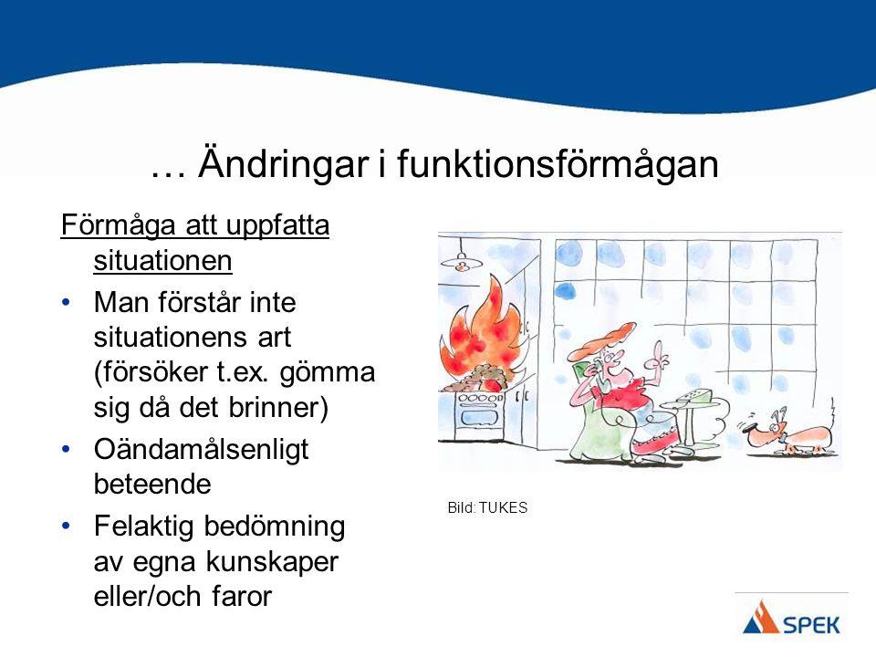 … Ändringar i funktionsförmågan Förmåga att uppfatta situationen •Man förstår inte situationens art (försöker t.ex. gömma sig då det brinner) •Oändamå
