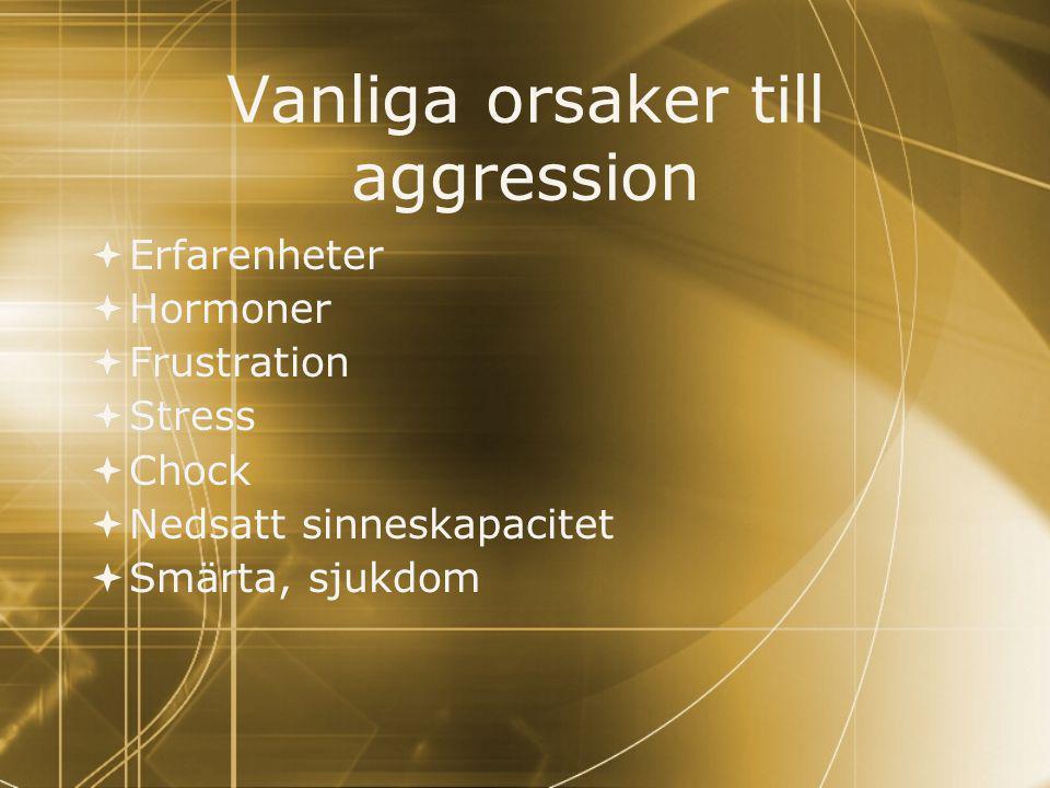Vanliga orsaker till aggression  Erfarenheter  Hormoner  Frustration  Stress  Chock  Nedsatt sinneskapacitet  Smärta, sjukdom  Erfarenheter 