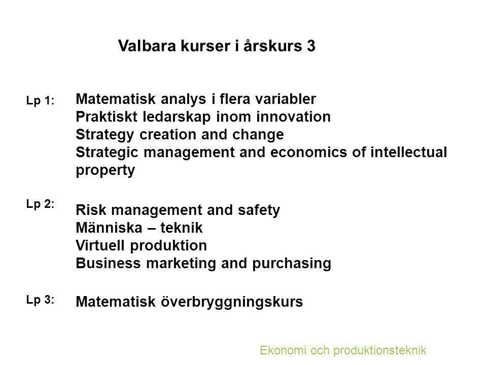 Masterprogram för EPI Garantiplats till två program: 1) Industrial Ecology (MPTSE) Kurskrav: * LMA224 Matematisk överbryggningskurs eller TMV220 Matematisk överbryggningskurs 2)Production Engineering (MPPEN) Kurskrav: * LMA017 Matematisk analys i flera variabler * LMA224 Matematisk överbryggningskurs eller TMV220 Matematisk överbryggningskurs * TME016 Hållfasthetslära och maskinelement eller TME060 Hållfasthetslära och maskinelement * LET154 Elteknik