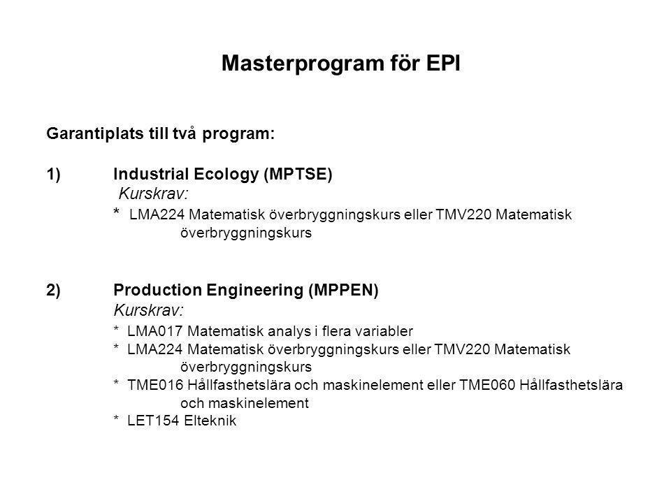 Möjlighet att söka följande program: Management and Economics of Innovation (MPMEI) Kurskrav: * LMA017 Matematisk analys i flera variabler Quality and Operations Management (MPQOM) Kurskrav: * LMA017 Matematisk analys i flera variabler Supply Chain Management (MPSCM) Kurskrav: * LMA017 Matematisk analys i flera variabler
