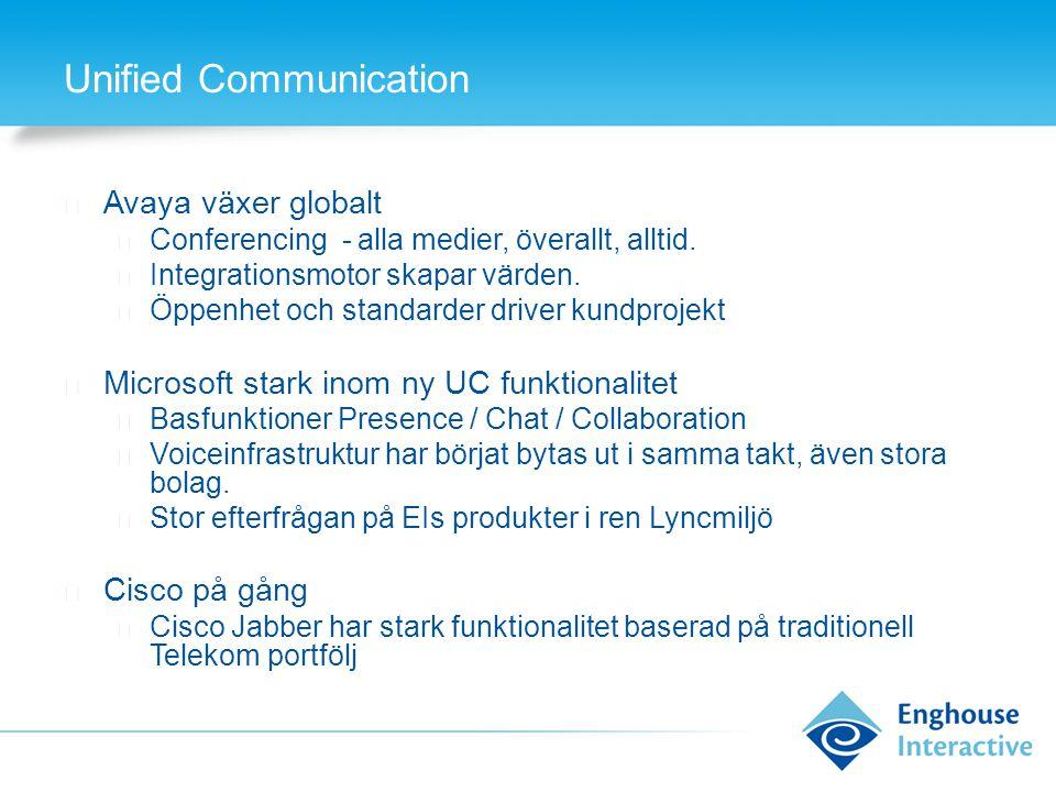 Unified Communication ◆ Avaya växer globalt ◆ Conferencing - alla medier, överallt, alltid. ◆ Integrationsmotor skapar värden. ◆ Öppenhet och standard