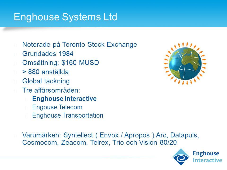 Enghouse Systems Ltd ◆ Noterade på Toronto Stock Exchange ◆ Grundades 1984 ◆ Omsättning: $160 MUSD ◆ > 880 anställda ◆ Global täckning ◆ Tre affärsomr