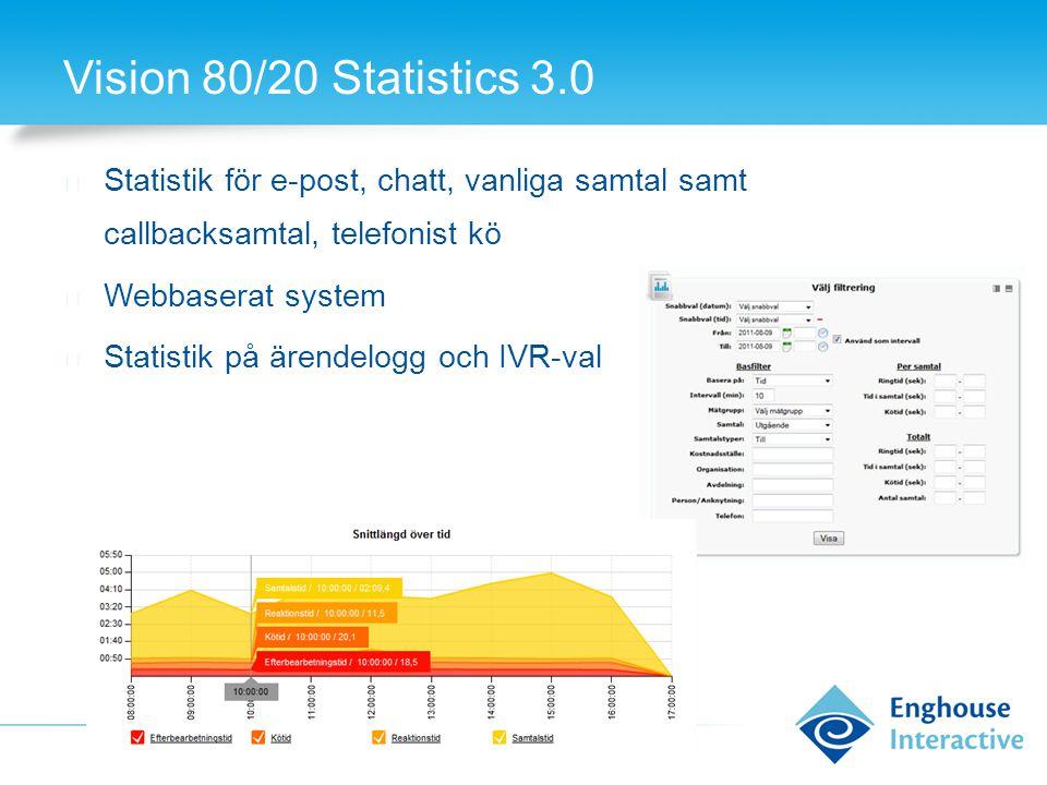 Vision 80/20 Statistics 3.0 ◆ Statistik för e-post, chatt, vanliga samtal samt callbacksamtal, telefonist kö ◆ Webbaserat system ◆ Statistik på ärende