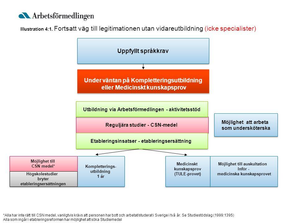 Uppfyllt språkkrav Kompletterings- utbildning 1 år Kompletterings- utbildning 1 år Medicinskt kunskapsprov (TULE-provet) Medicinskt kunskapsprov (TULE
