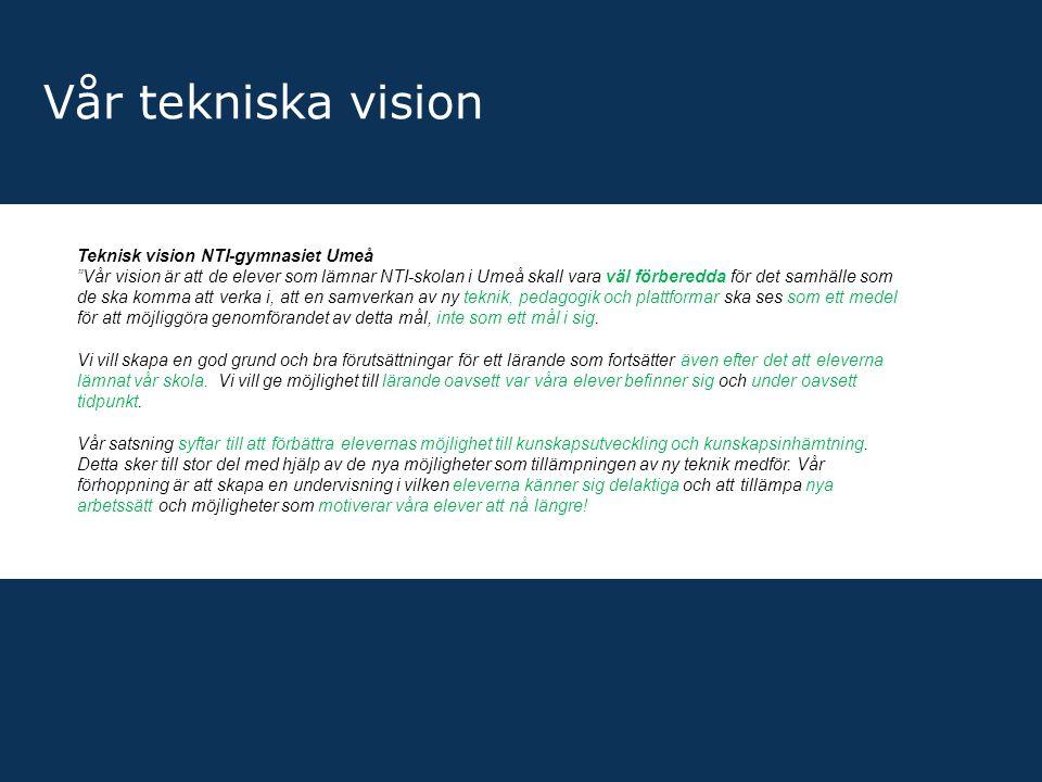 """Vår tekniska vision Teknisk vision NTI-gymnasiet Umeå """"Vår vision är att de elever som lämnar NTI-skolan i Umeå skall vara väl förberedda för det samh"""
