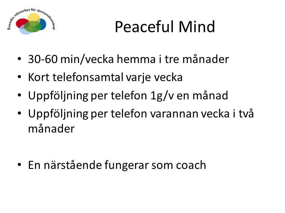 Peaceful Mind • 30-60 min/vecka hemma i tre månader • Kort telefonsamtal varje vecka • Uppföljning per telefon 1g/v en månad • Uppföljning per telefon